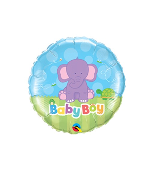 "Runder Folienballon mit Elefant ""Baby Boy"""