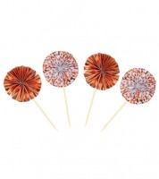 Party-Picks mit Papierfächer - rosegold - 8 Stück