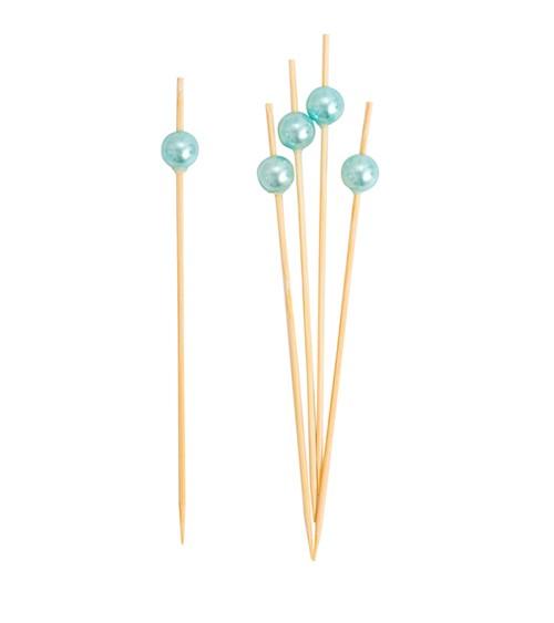 Party-Picks mit Perle - perlmutt hellblau - 12 cm - 25 Stück