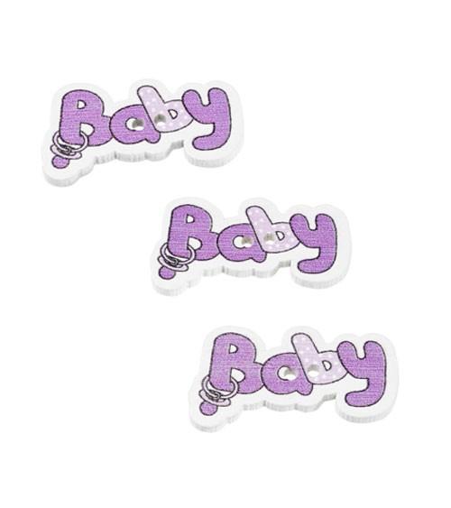 """Holzstreuteile """"Baby"""" - lila - 3,7 cm - 12 Stück"""