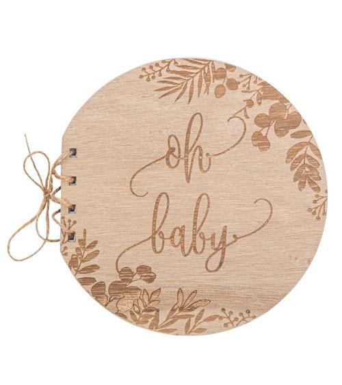 Oh Baby Holz-Gästebuch mit Eukalyptus-Gravur - 16,5 cm