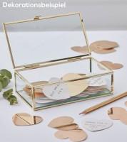 Glaskästchen mit goldenen Papierherzen - 161-teilig