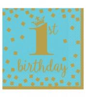 """Servietten """"1st Birthday"""" - türkisblau/gold - 16 Stück"""
