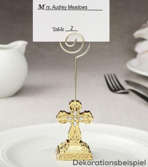 """Platzkartenhalter """"Taufkreuz"""" - gold mit Glitzersteinen"""