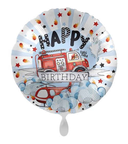 "Folienballon ""Happy Fire Engine"" - Happy Birthday"