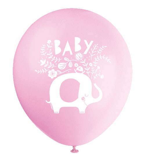 """Luftballons """"Floral Elephant"""" - rosa - 8 Stück"""