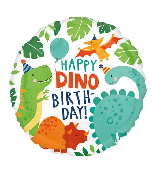 "Runder Folienballon ""Happy Dino Birthday"" - 43 cm"