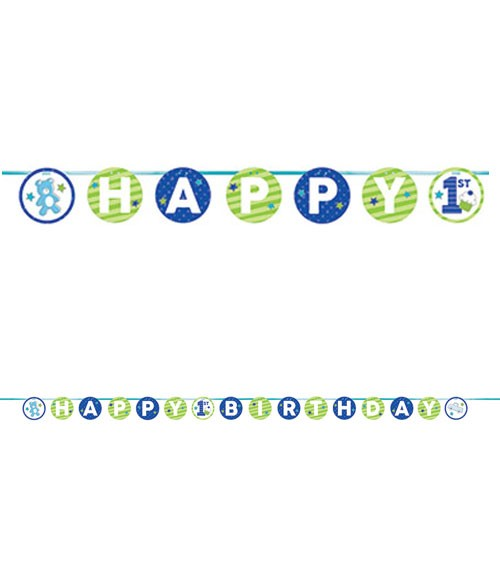 "Happy 1st Birthday-Girlande ""Happy One - blau"" - 3,35 m"
