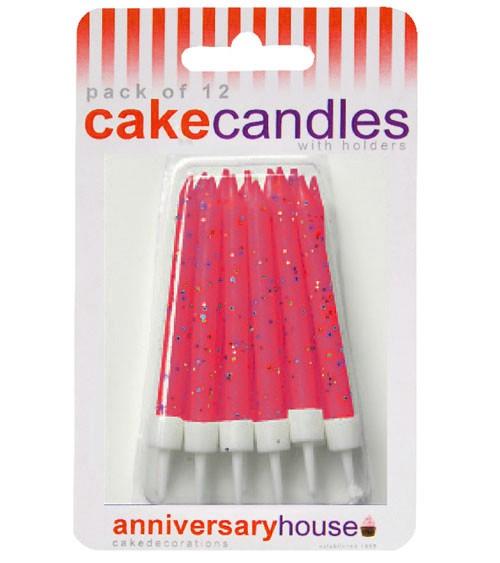 Kuchenkerzen mit Glitter - fuchsia - 12 Stück