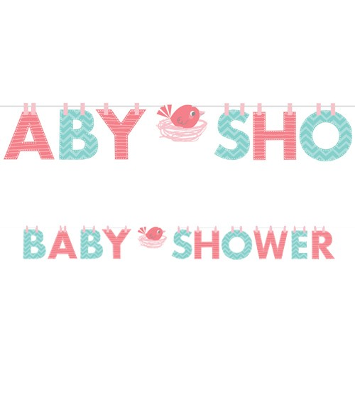 "Baby Shower-Girlande ""Hello Baby - rosa"" - 2,42 m"