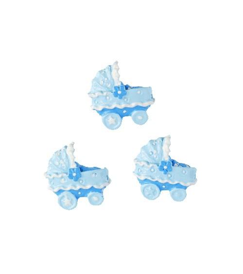 """Streuteile """"Kinderwagen"""" mit Klebepunkten - hellblau - 2 cm - 4 Stück"""