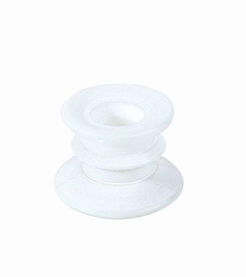 Stabkerzenhalter aus Glas - weiß - 4 cm