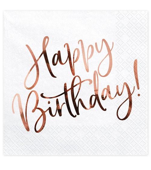 """Servietten """"Happy Birthday!"""" - weiß & rosegold - 20 Stück"""