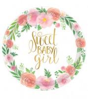 """Große Pappteller """"Sweet Baby Girl"""" - 8 Stück"""