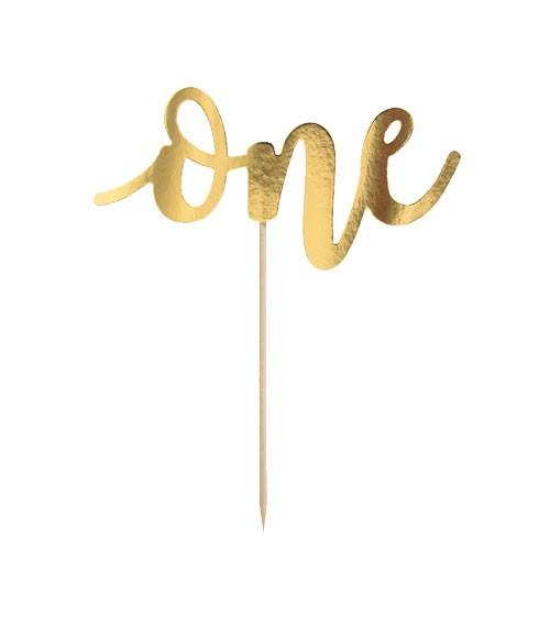 "Cake Topper aus Papier ""One"" - metallic gold - 19 cm"
