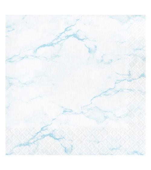 "Servietten ""Marble"" - hellblau - 16 Stück"