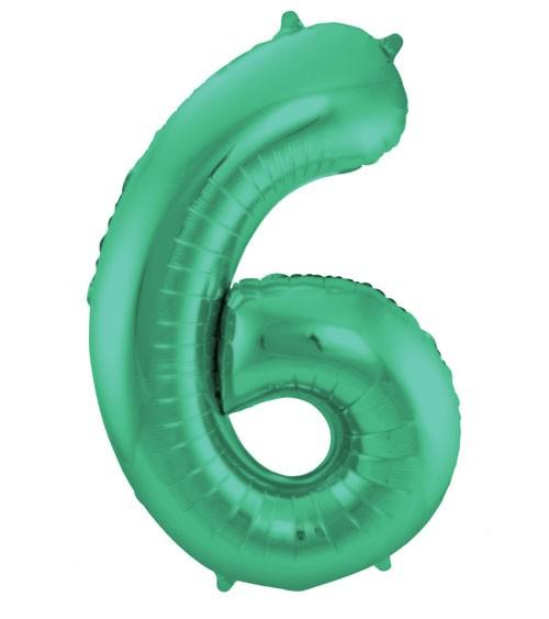 """Zahl-Folienballon """"6"""" - matt grün - 86 cm"""