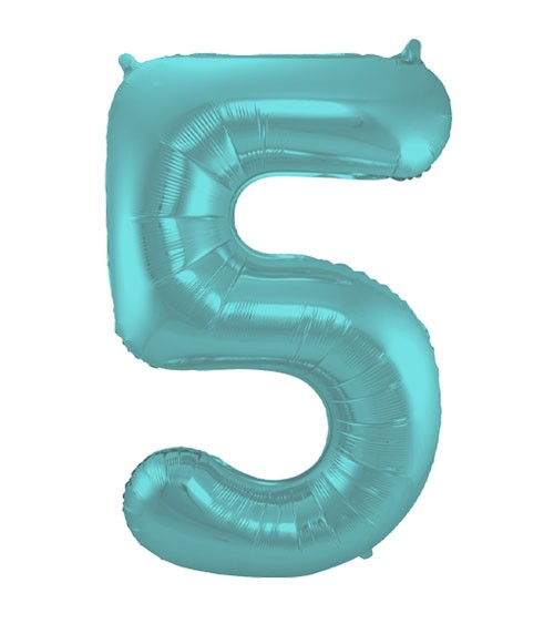 "Zahl-Folienballon ""5"" - matt pastel mint - 86 cm"