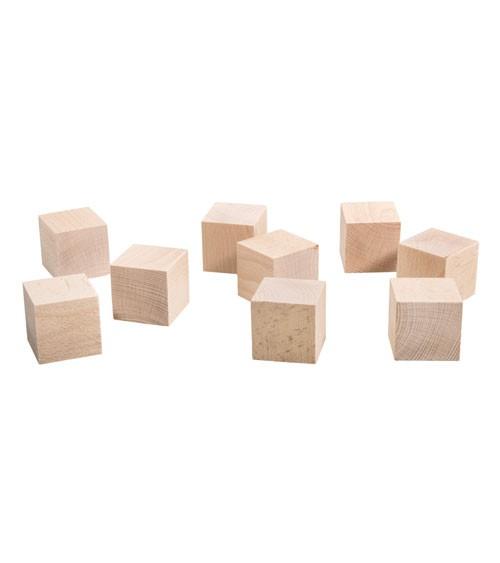 Holz-Würfel - natur - 4,5 cm - 9 Stück