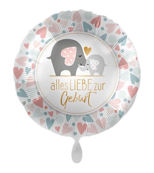 """Folienballon mit Elefanten """"Alles Liebe zur Geburt"""" - 43 cm"""