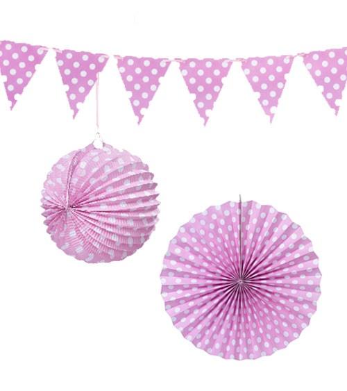 Hängedeko-Set - rosa gepunktet - 3-teilig