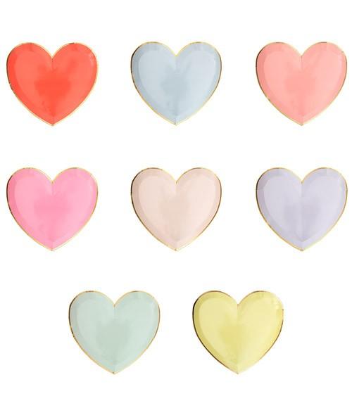 Kleine Herz-Pappteller in 8 Farben - 8 Stück