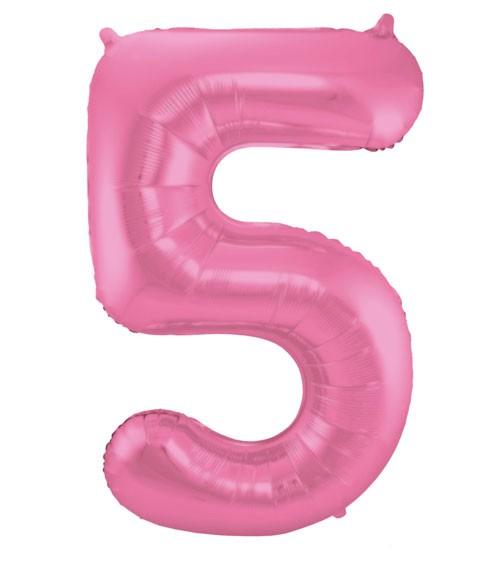 """Zahl-Folienballon """"5"""" - matt candy pink - 86 cm"""