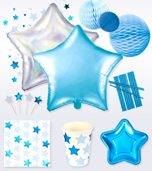 "Deko-Set ""Little Star Blue"" - 74-teilig"