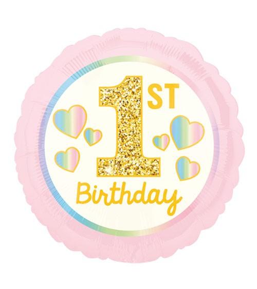 "Runder Folienballon ""1st Birthday Girl"" - 43 cm"