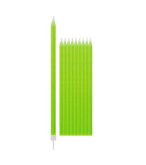 Lange Kuchenkerzen - hellgrün - 15,5 cm - 10 Stück