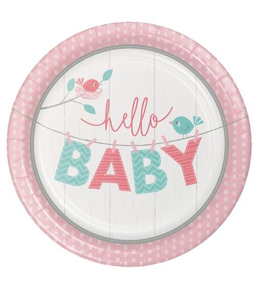 "Pappteller ""Hello Baby - rosa"" - 8 Stück"