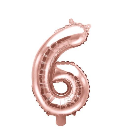 "Folienballon Zahl ""6"" - rosegold - 35 cm"