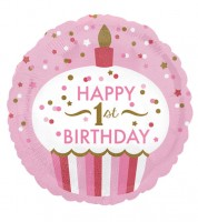 "Runder Folienballon Cupcake ""Happy 1st Birthday"" - rosa/gold"