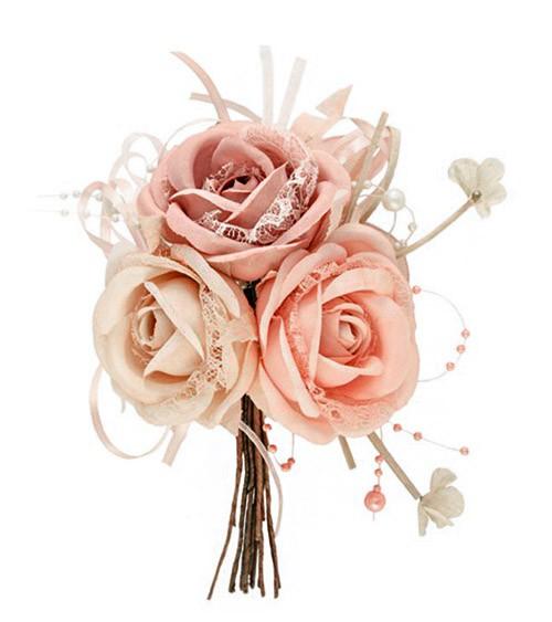 Stoffrosen-Strauß mit Spitze - Farbmix Rosa - 17 cm