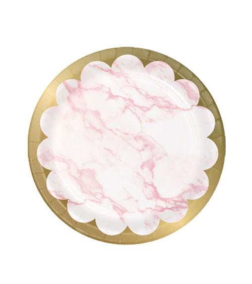 """Kleine Pappteller """"Marble"""" - rosa & gold - 8 Stück"""