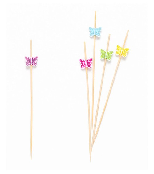 Party-Picks mit Schmetterling - bunt - 12 cm - 25 Stück
