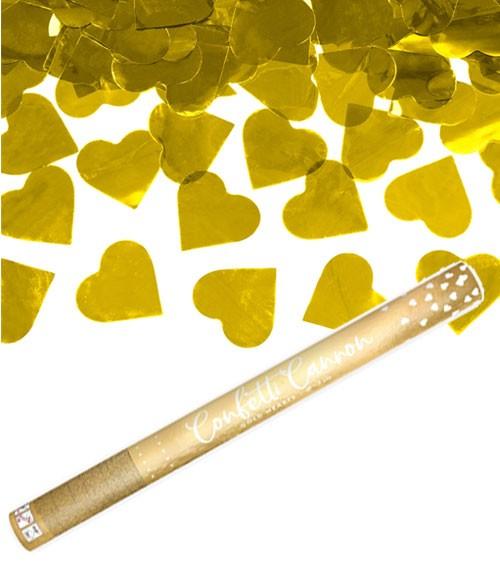 Konfetti-Kanone mit Herzen - gold - 60 cm