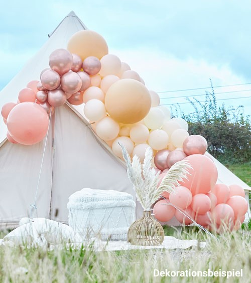 Deluxe Ballongirlanden-Set - rosegold, pfirsich & nude - 200-teilig