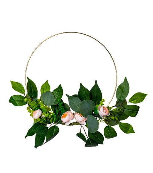 Floral Hoop mit Eukalyptus und pfirsichfarbenen Rosen - 30 cm