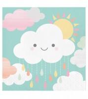 Die kleine Wolke schaut lächelnd auf Ihre Babyparty