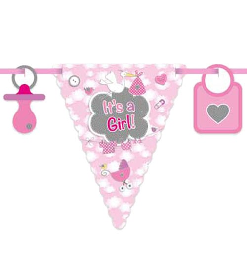 "Wimpelgirlande mit Storch ""It's a Girl"" - 6 m"