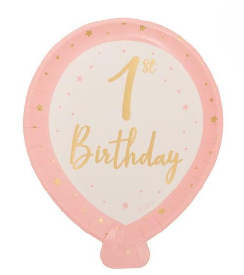 "Ballon-Pappteller ""So Sweet"" - 1st Birthday - rosa - 8 Stück"