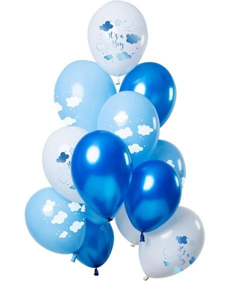 "Luftballon-Set ""It's a Boy"" - Farbmix Blau - 12-teilig"