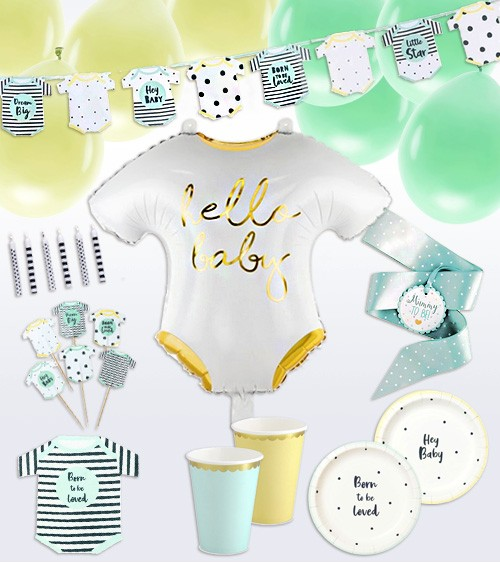 """Babyparty-Deko-Set """"Born to be loved"""" - 80-teilig"""