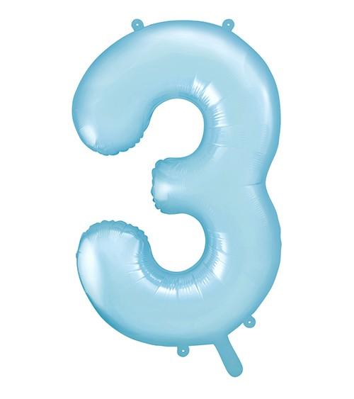 "Supershape-Folienballon ""3"" - pastellblau - 86 cm"