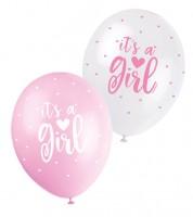 """Perlmutt-Luftballon-Set """"It's a Girl"""" - rosa/weiß - 30 cm - 5 Stück"""