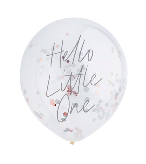 "Konfetti-Ballons ""Hello Little One"" - rosegold - 5 Stück"