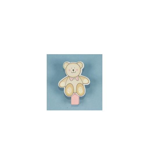"""Holzklammern """"Teddybär"""" - rosa - 4 Stück"""