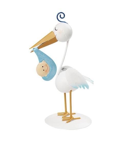 Storch mit Baby-Jungen aus Metall - 18 cm