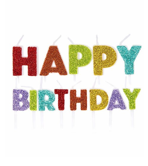 "Kuchenkerzen-Set ""Happy Birthday"" - glitter rainbow - 13-teilig"